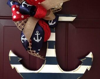 Nautical Navy Striped Door Hand Painted Wood Door Hanger
