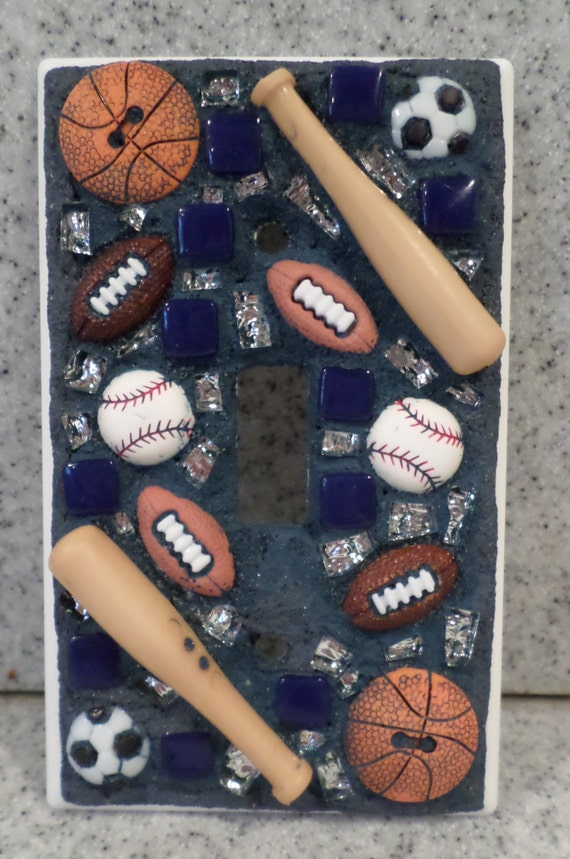 Mosaic Light Switch Cover Sports Themed Switch Plate