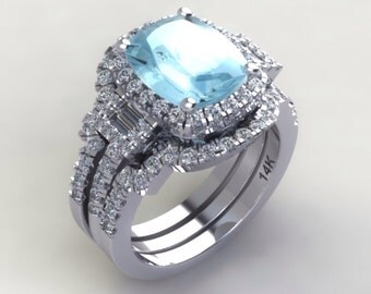 Aquamarine Engagement Ring Diamond Halo Wedding Band Set Long Cushion Cut Aquamarine .55ct Natural Diamond White Gold Pristine Custom Rings