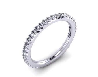 Platinum Diamond Eternity Wedding Band Round FSI1 Diamonds .42tw Diamond Band Wedding Band Eternity Ring