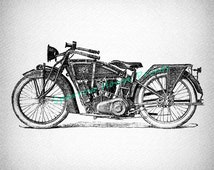 Classic Motorcycle Print Antique Wall Art Home Decor Vintage Print with Vignette Paper Style Background No.3470 B18 8x8 8x10 11x14