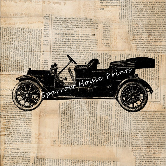 Vintage Auto Wall Decor : Car art vintage print automobile home decor antique wall