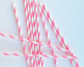 25 Pink Paper Straws, Pink Stripe Straws, Pink Party Straws, Pink Drinking Straws Made in USA