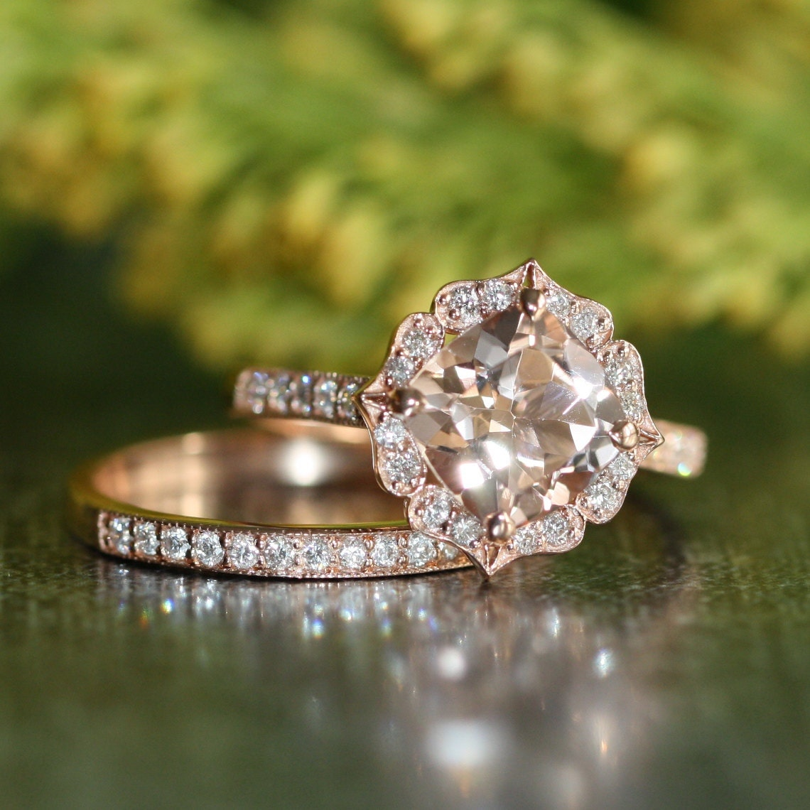 vintage floral morganite engagement ring diamond by. Black Bedroom Furniture Sets. Home Design Ideas