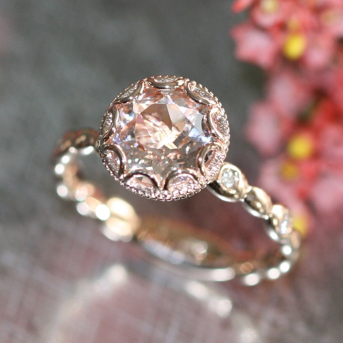 Floral Bands: Floral Morganite Engagement Ring In 14k Rose Gold By