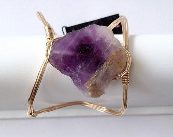 Sliced Amethyst Gemstone Wire Wrapped Cuff-Adjustable