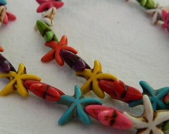 Howlite Starfish Beads - Multi-Color - 15x5mm