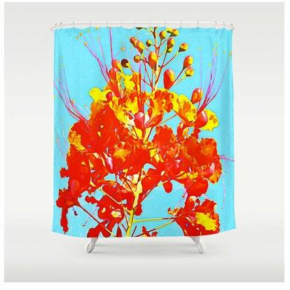 Shower Curtain Mexican Bird Of Paradise Orange Flower Blue Sky Texas Art