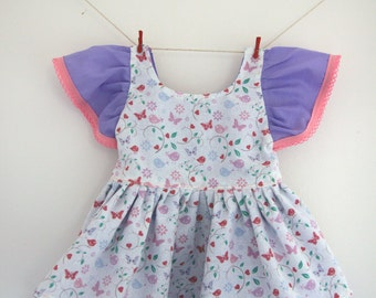 Butterfly dress, bird dress, bright dress, short sleeve dress, baby dress, colourful dress, pink purple dress, toddler dress, party dress