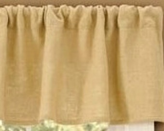 "Burlap Curtain - Burlap Drape - Rustic  Burlap Valance Curtain 80"" x 32"" - Burlap Kitchen Drape - Burlap Window Treatment"