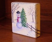 Snowman Painting, Miniature Art, Winter Primitive, Holiday Decor, Primitive Christmas, Painting on Wood , Christmas Art, Small Painting