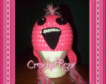 Crocheted Pink Flamingo hat with earflaps and tassels