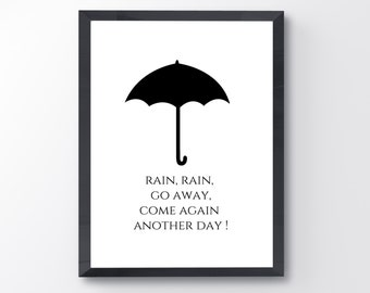 Umbrella print / 8x10/ digital download / black and white / nursery