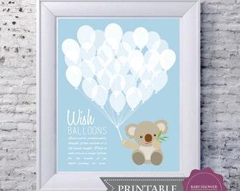 Baby Shower Game Keepsake PRINTABLE Art Print - Koala Bear and 30 Wishing Balloons in Baby Blue