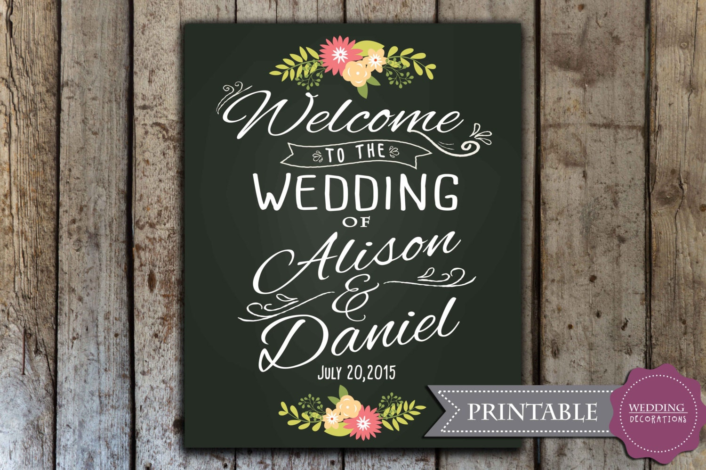 Custom wedding welcome sign printable wedding chalkboard for Wedding signs printable