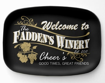 Personalized Winery Platter, Personalized Melamine Serving Platter, Wine Platter, Personalized Serving Tray, Bar Decor