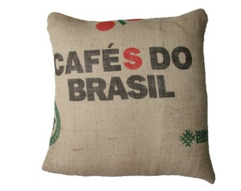 Cushion Cafe do Brasil, made with recycled coffee sack fabric. Insert included.