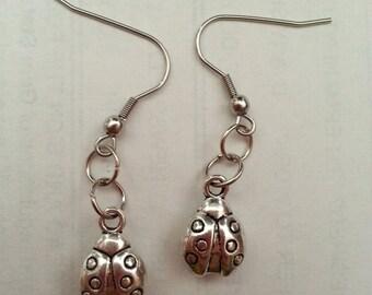 Lady Bug Earrings- Lady Bug Surgical Steel Hanging Earrings- Surgical Steel Earrings- Lady Bugs- Handmade Earrings- Jewelry- Lady Bugs