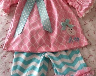 Beautiful bunny peasant and ruffle pants set