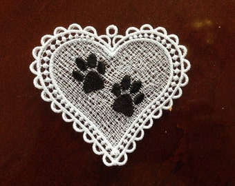 Cat Dog Paw Memorial Rememberance Ornament Pawprint Heart Free Standing