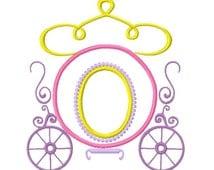 Machine Applique' Embroidery Design, Cinderella's carriage princess coach, #345