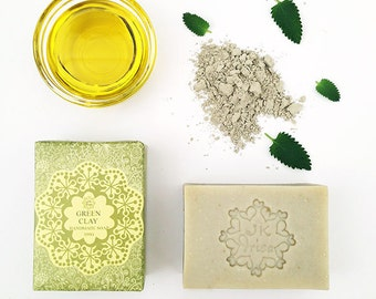 Natural Green Clay handmade soap, organic Tea Tree oil soap, vegan cold process soap, best soap Australia, wholesale homemade soap