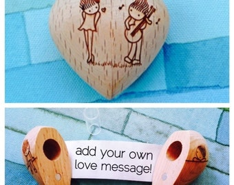 Wooden Heart with Secret Compartment and Scroll-Guitar Design