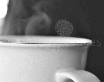 "Coffee photo print -  Black and White 11"" x 14""  - coffee art print - black and white photo coffee cup"