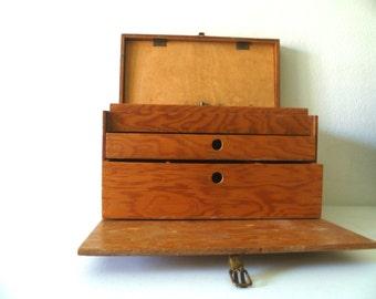 Vintage Large Rustic Wood Storage Box with Drawers