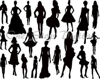 Instant Download Women Silhouette ClipArt Wedding Party Silhouette Clipart Lady Silhouette Fashion Model Silhouette Bridal Scrapbooking 0341