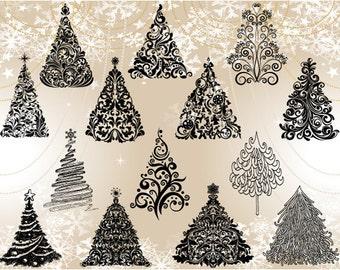 Instant Download Digital Christmas Tree Clip Art Flourish Swirls Christmas Tree Clipart Hand Drawn Christmas Tree Clip Art 0372