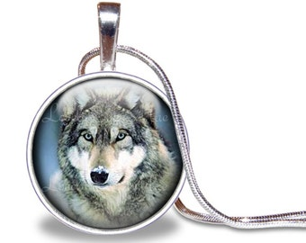 Wolf Necklace, Wolf Pendant, Glass Tile Necklace, Wolf Jewelry, Wolf Gift, Silver Plated, Predator, Wolf Gift, Wolf Accesories