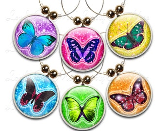 Butterfly Wine Glass Charms, Set of 6,  Sparkly Wine Glass Charm, Wine Gifts, Butterfly Charm, Butterfly Gifts, Butterflies, Colorful