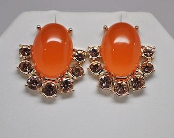 Vintage Orange Stud Earrings