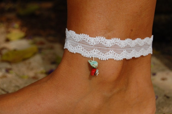 Sexy Embroidered White Lace Bracelet, Lapis, Turquoise and Emerald, Wedding Bridal Lace Bracelet, Designed Leg Bracelet, Handmade Bracelet