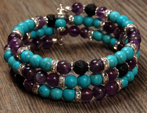 Amethyst Amp Turquoise Memory Wire Bracelet With Lava Stone
