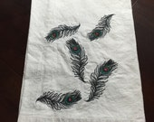 Falling Peacock Feathers - Embroidered Flour Sack Towel Made to Order