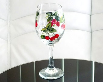Hand Painted Wine Glass Red Cherry Green Leaves Hand Painted Glassware Stemware Hand Painted Wine Glasses Custom Personalized Painted Glass