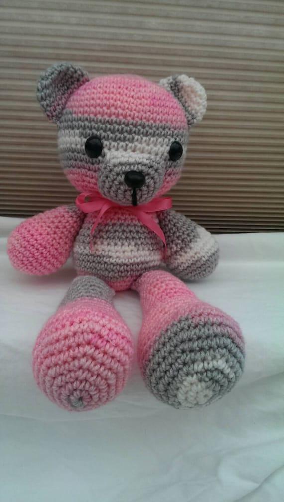 Amigurumi Pink Bear : Amigurumi Pink and Grey Teddy Bear