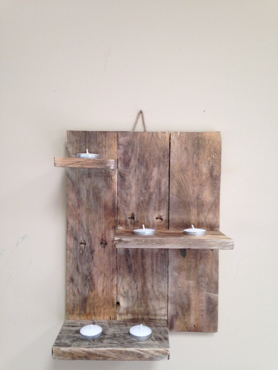 Wall Hanging Tea Light Holder : Hanging Wall Tea Light Display by RusticPallets on Etsy