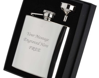 6oz Shiny Hip Flask - with Funnel and Presentation Box. Engraved with your own Message.