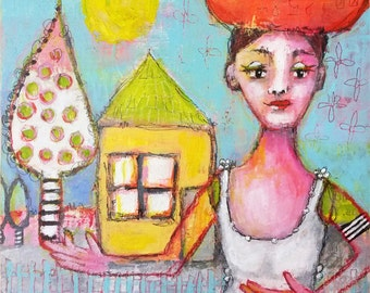 Reap what we sow... - original mixed media painting - raw - folk art - whimsy - Piarom