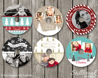 Christmas Photo CD Labels - Christmas DVD Label Templates - Holiday Cd Disk Stickers for Photographers - CLCS2