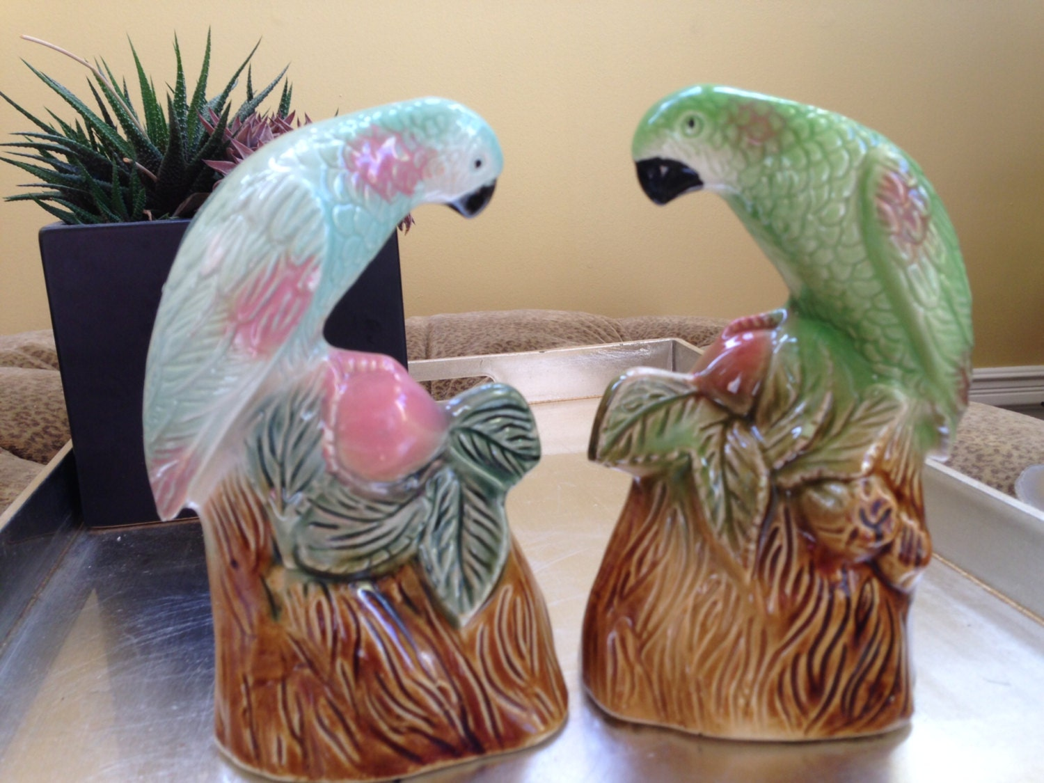 Vintage Ceramic Bird Figurines Parrots Parakeets Love Birds