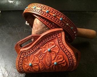 Rusty Rose Hand Tooled SMB Holster/Belt Set
