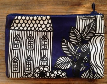 Lintukotonen OIL CLOTH wallet coin purse,  Marimekko material, Finland, fully lined , 18x10cm