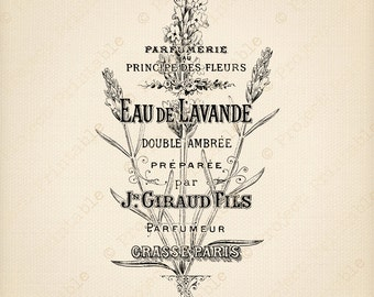 Instant Download Printable - French Lavender Bag graphics - Paris Graphics - Floral Clip Art Image - Digital Iron On Fabric Transfer