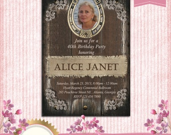 Rustic Women's Birthday Party Invitation With a Horseshoe Frame - 21st 30th 40th 50th 60th 70th 80th ( any age) - Printable, Degital File