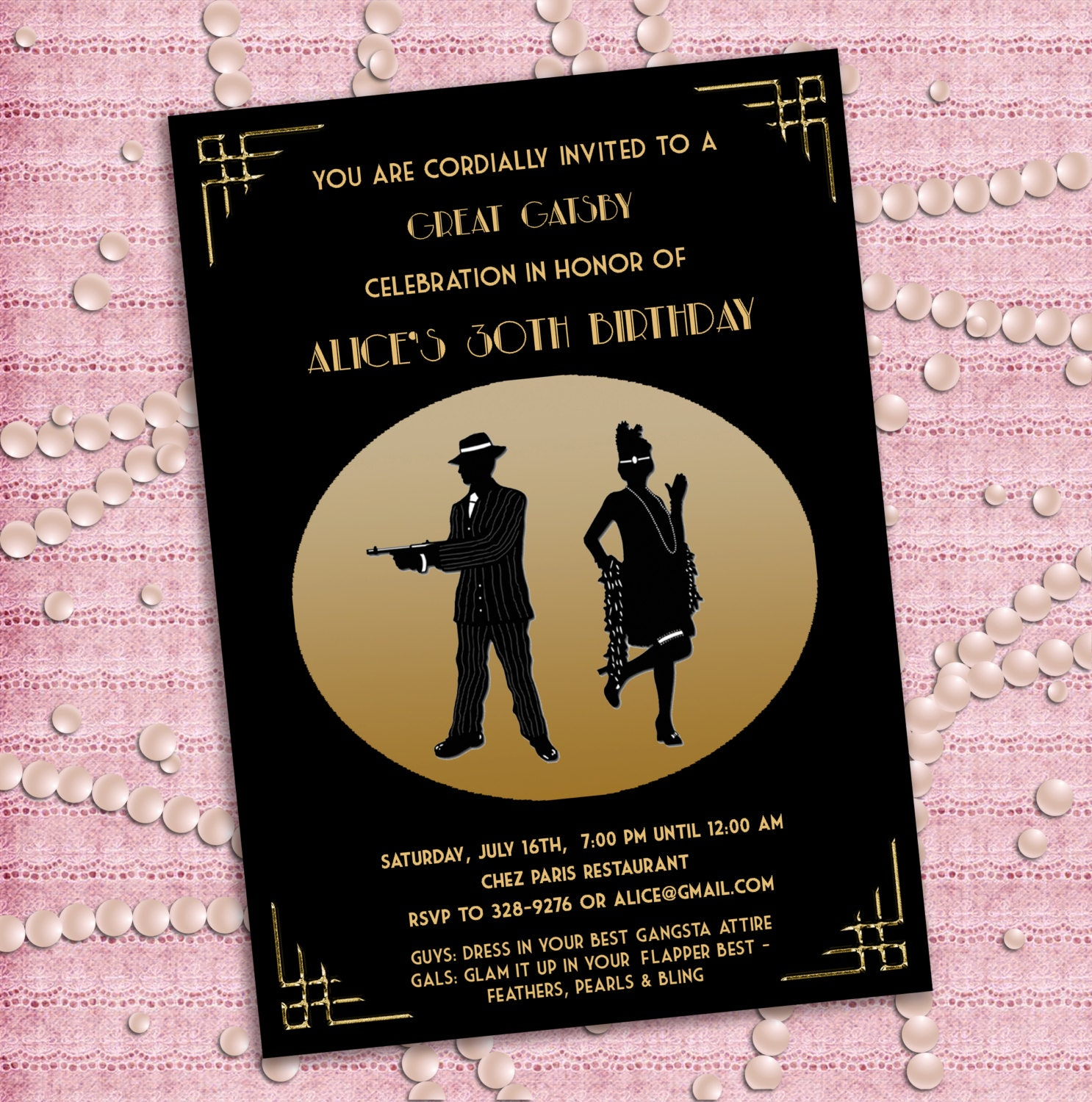 It's just a picture of Clean Gatsby Party Invitations