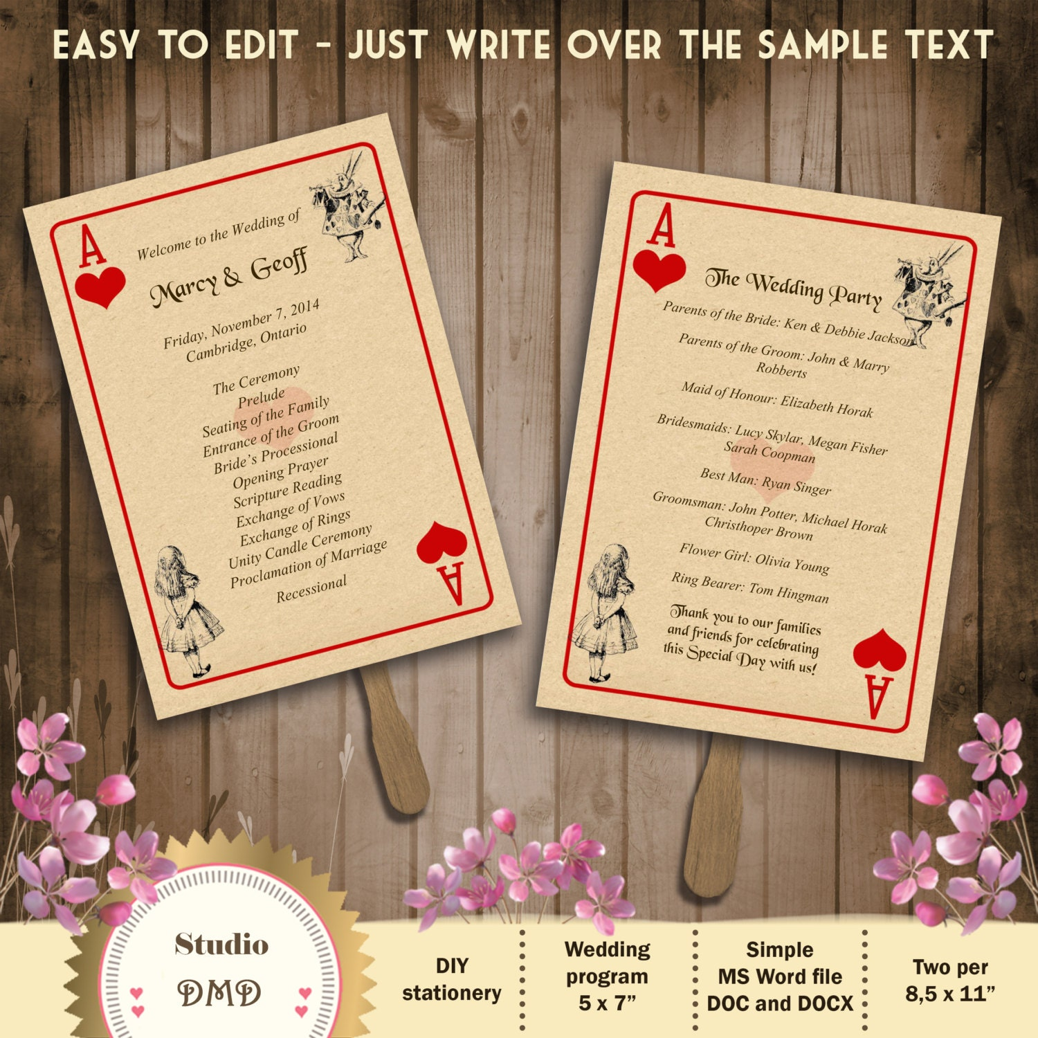 Printable Wedding Program Template – Alice in Wonderland ...